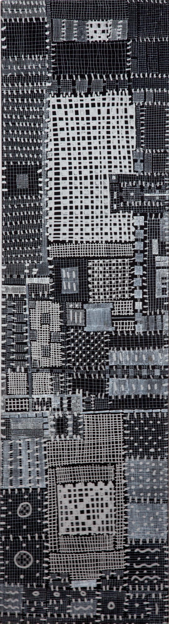 "919_City Scapes_pen on panel_29.5 x 8""_1999.jpg"