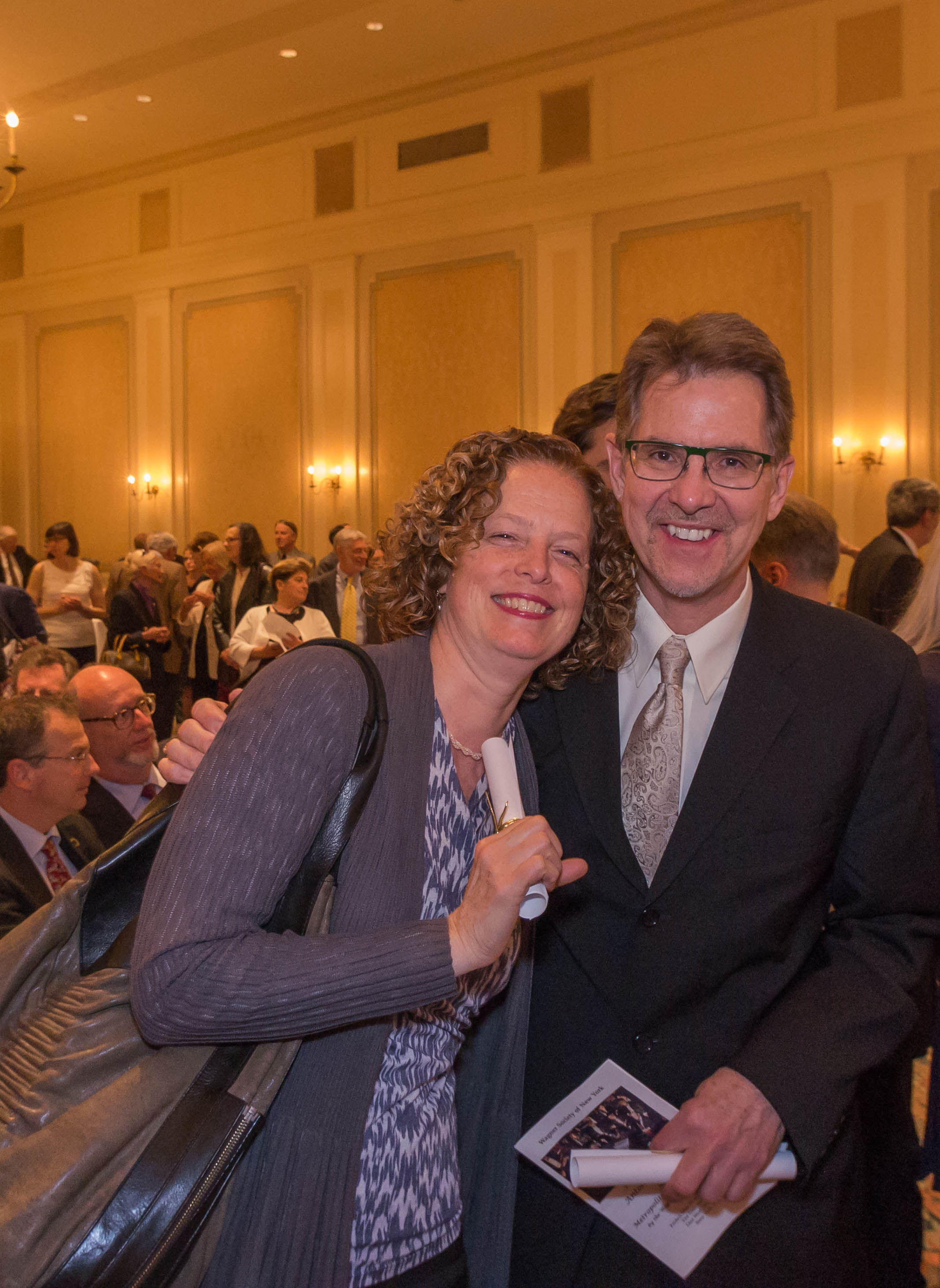 Violist Mary Hamman and Contrabassoonist Mark Romatzat the New York Wagner Society award ceremony