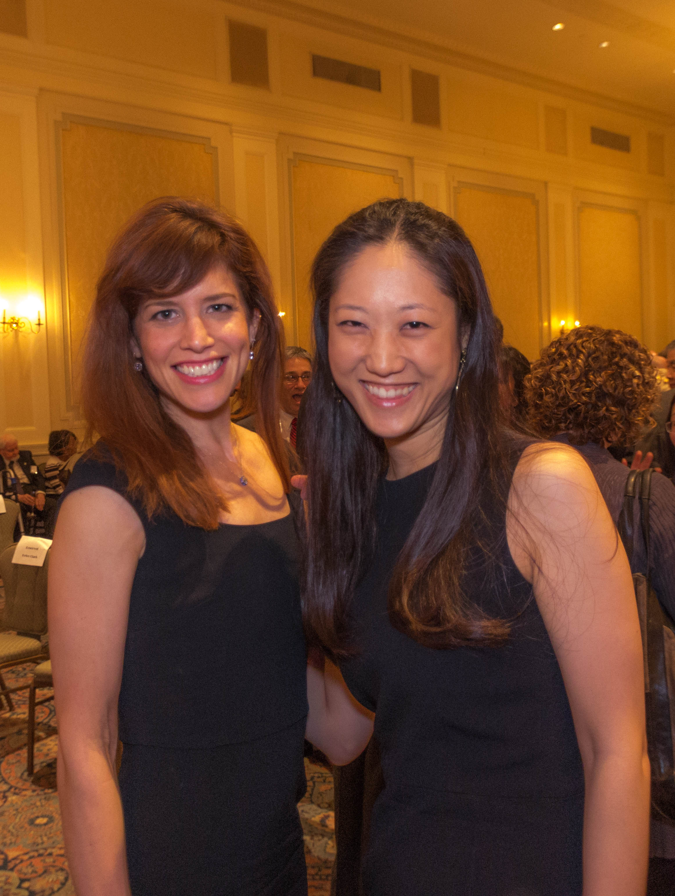 Associate Principal Second Violinist Sylvia Danburg Volpe and Violinist Catherine Ro at the New York Wagner Society award ceremony