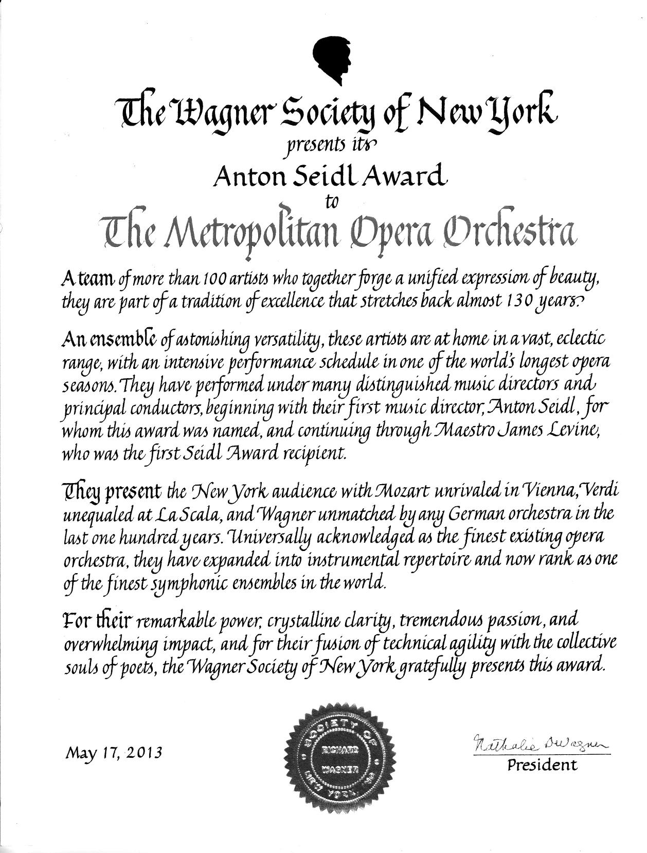 Wagner Society of New York - Anton Seidl Award 2013