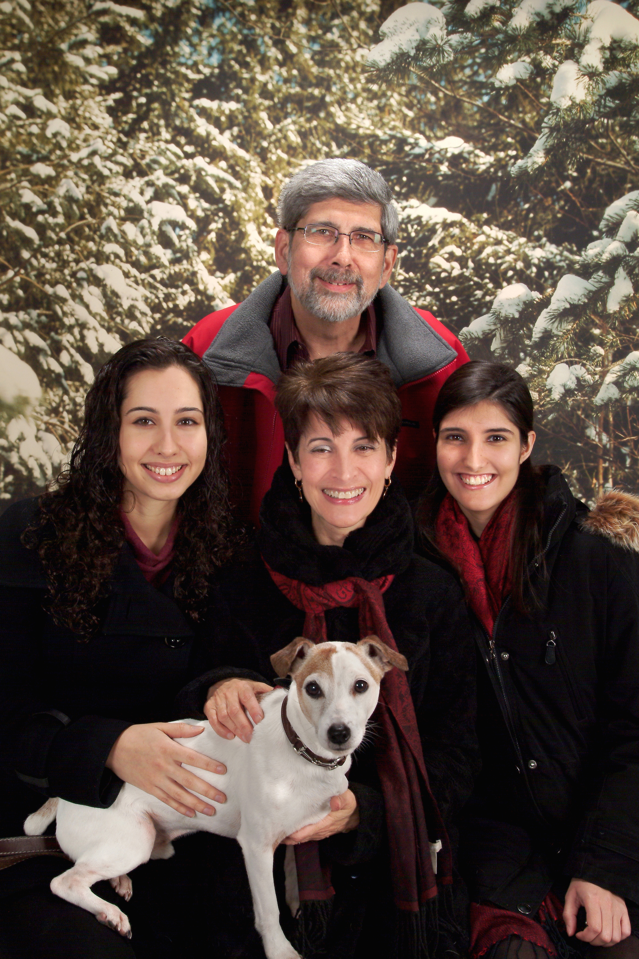 with husband Robert Sirinek, daughters Portia and Margot, and Rusty the dog
