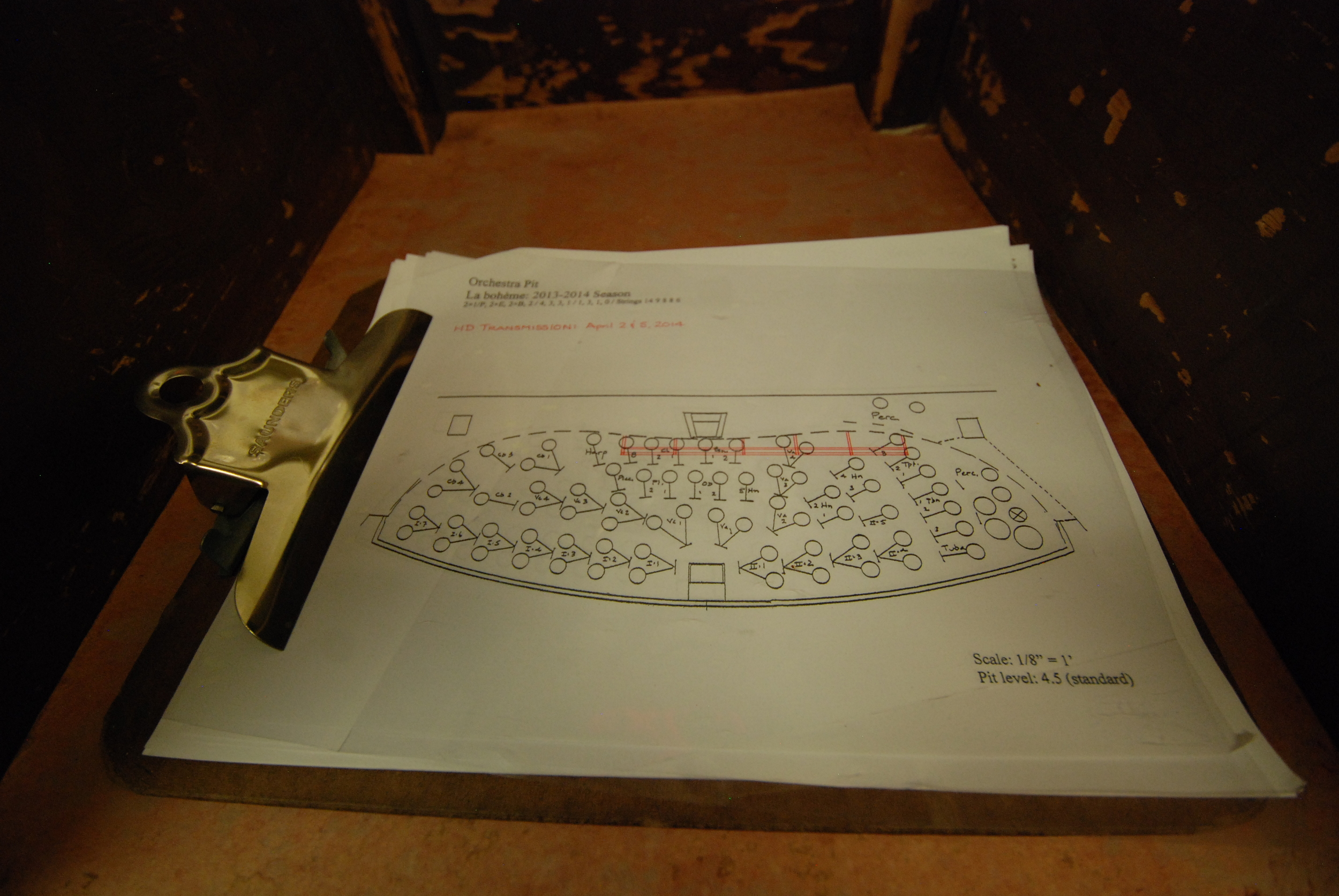 A drawn-to-scale graph of the pit setup for Puccini's  La Bohème