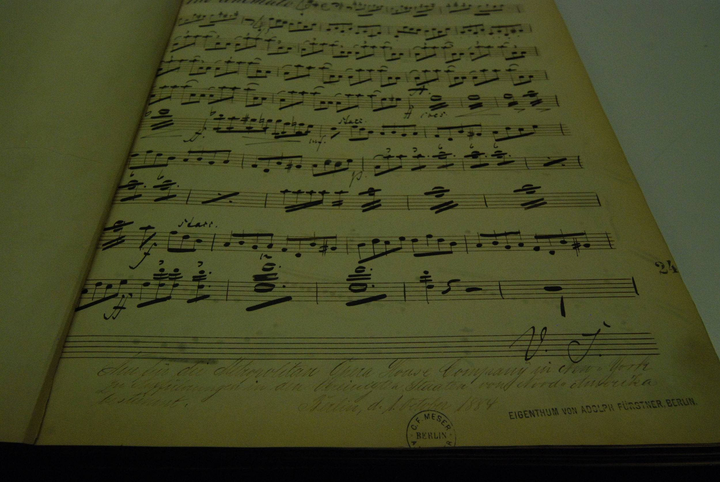 Dating from 1884, this  Rienzi  part was hand-engraved in Berlin for use by the Metropolitan Opera.