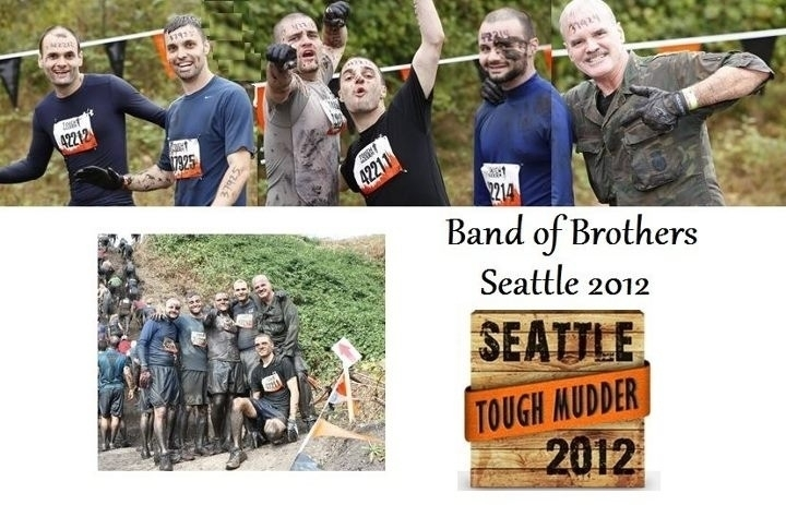 Daniel McCaughan (far right) with his sons, participating in Tough Mudder, a fundraiser for the Wounded Warrior Project held in the shadow of Mount Rainier (September 2012).