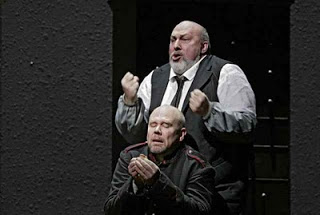 The Doctor (Walter Fink, standing) reminds Wozzeck (Alan Held) to eat his beans.  Photo by Ken Howard © 2005 The Metropolitan Opera