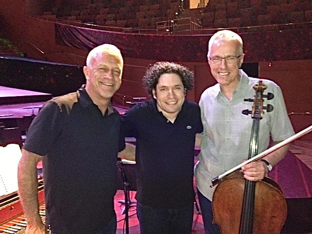 David with harpsichordist Robert Morrison (left) and Los Angeles Philharmonic Music Director Gustavo Dudamel (May 2013)