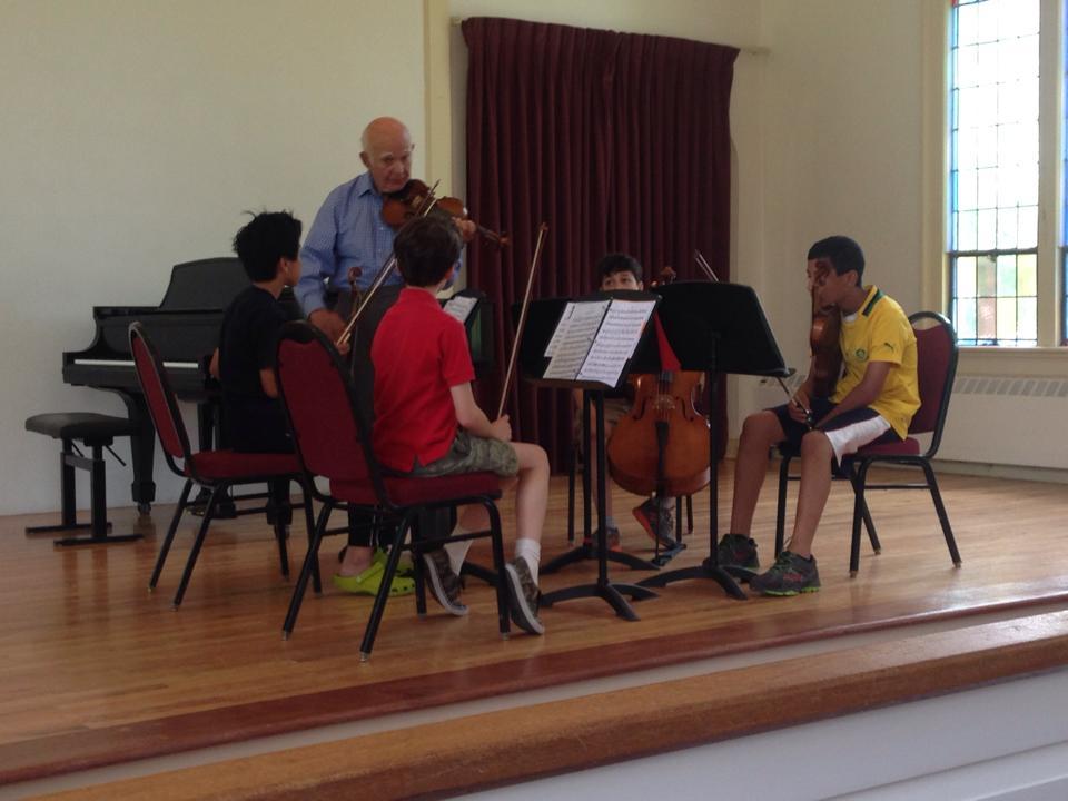 Former Boston Symphony Concertmaster Joseph Silverstein coaching Berkshire Summer Music students