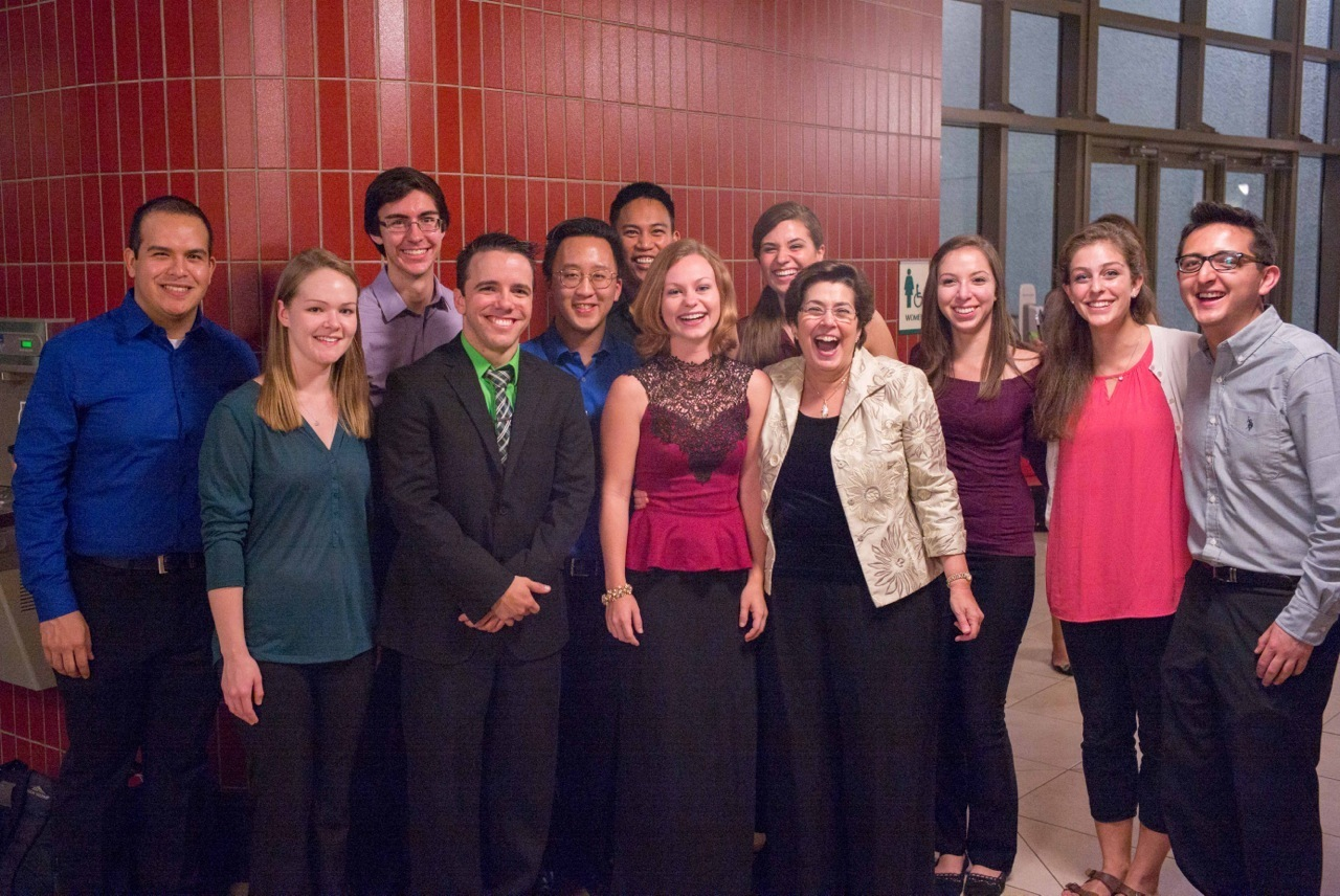 With students after a Frost Flute Ensemble concert