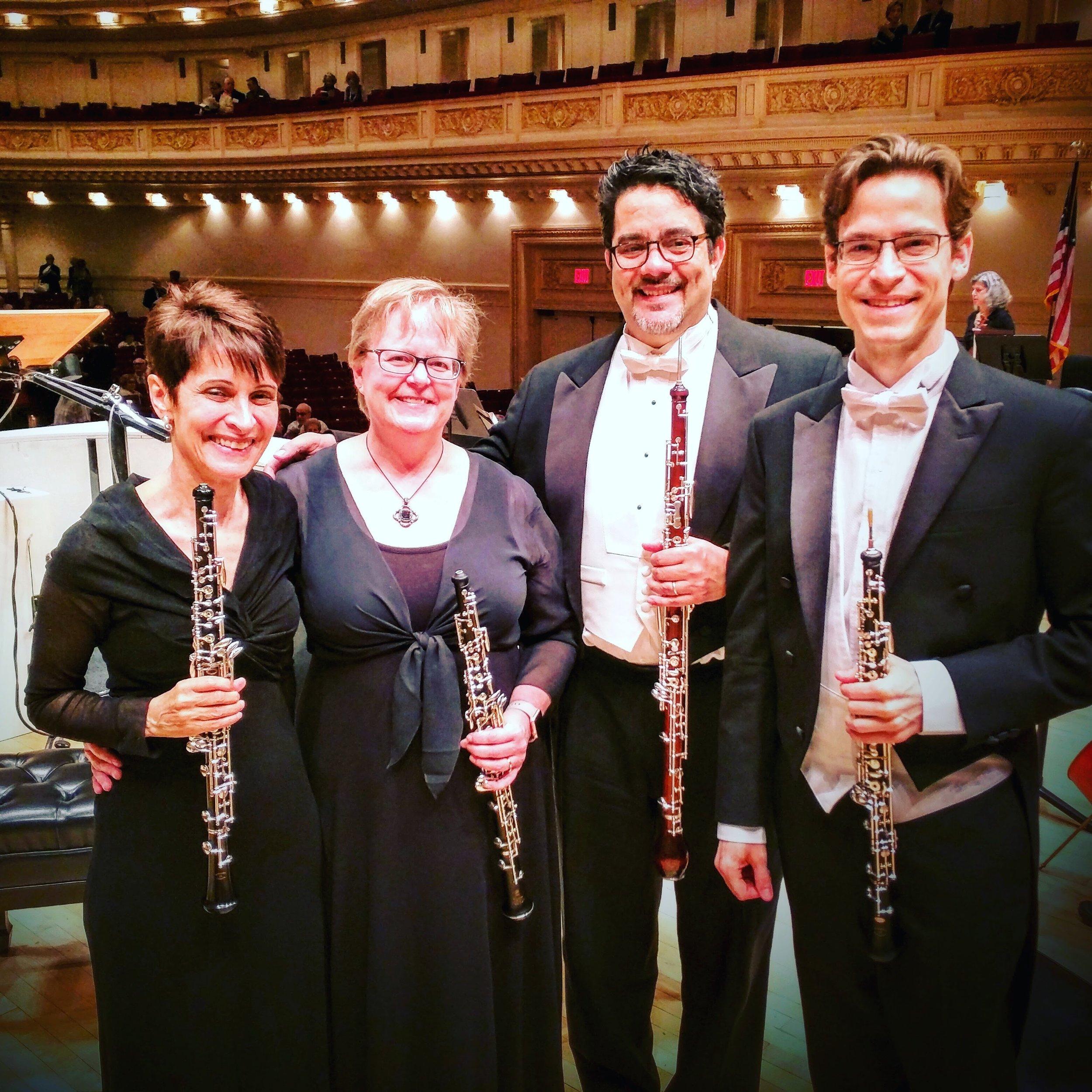 (L-R) MET Orchestra oboists Elaine Douvas, Susan Spector, Pedro Díaz, and Nathan Hughes