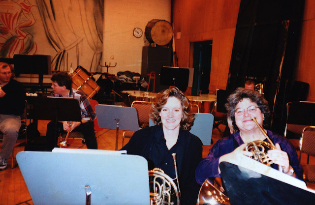Michelle, around 1991, with Julie Landsman in the rehearsal room at the Met.