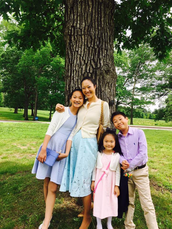 David's wife, MET Orchestra violinist Catherine Ro, and their three children