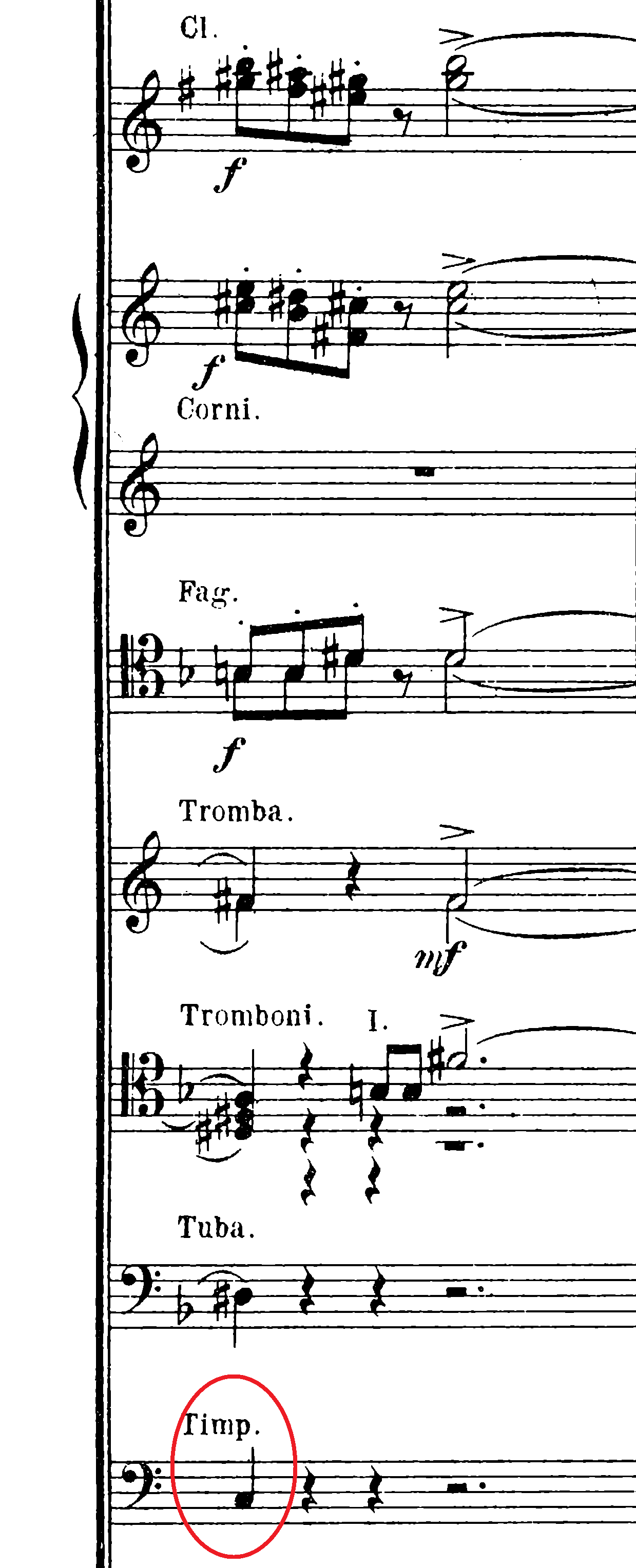 One of a number of incorrect pitches in the timpani part to  Der Fliegende Holländer.  In this case, Jason changed the circled note to a D#.
