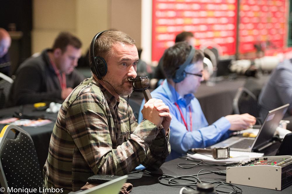 Stephen Hendry being interviewed by BBC Radio 5 Live