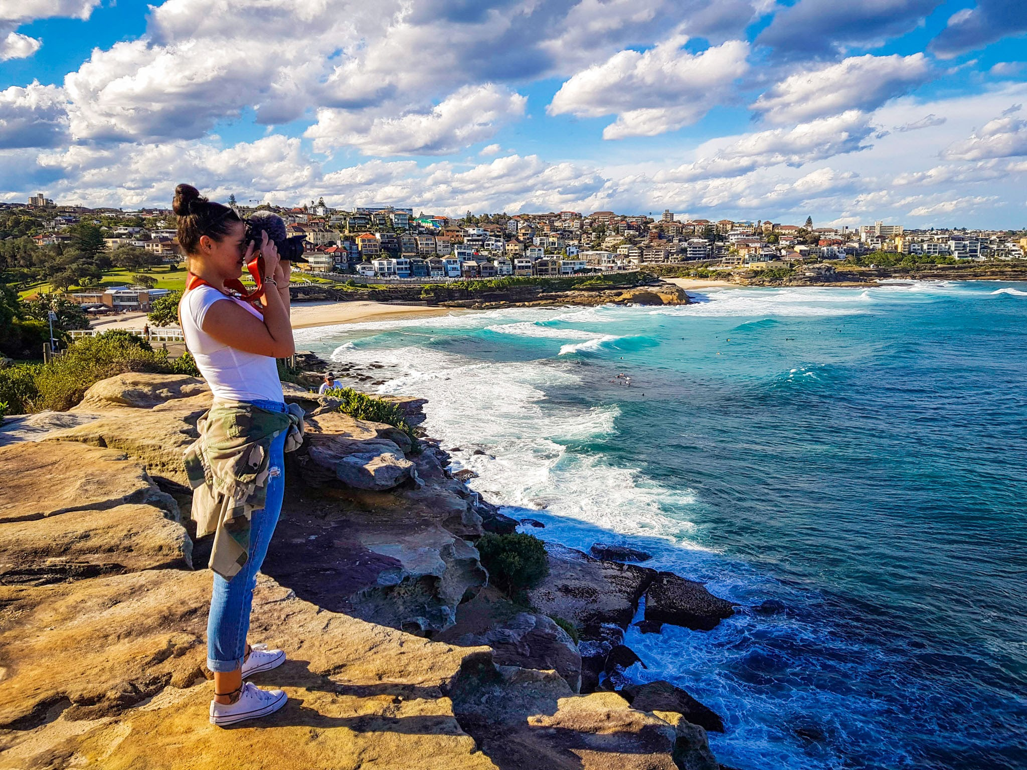 Trying to look professional...  Bondi to Coogee Coastal walk  Bronte Beach, Sydney