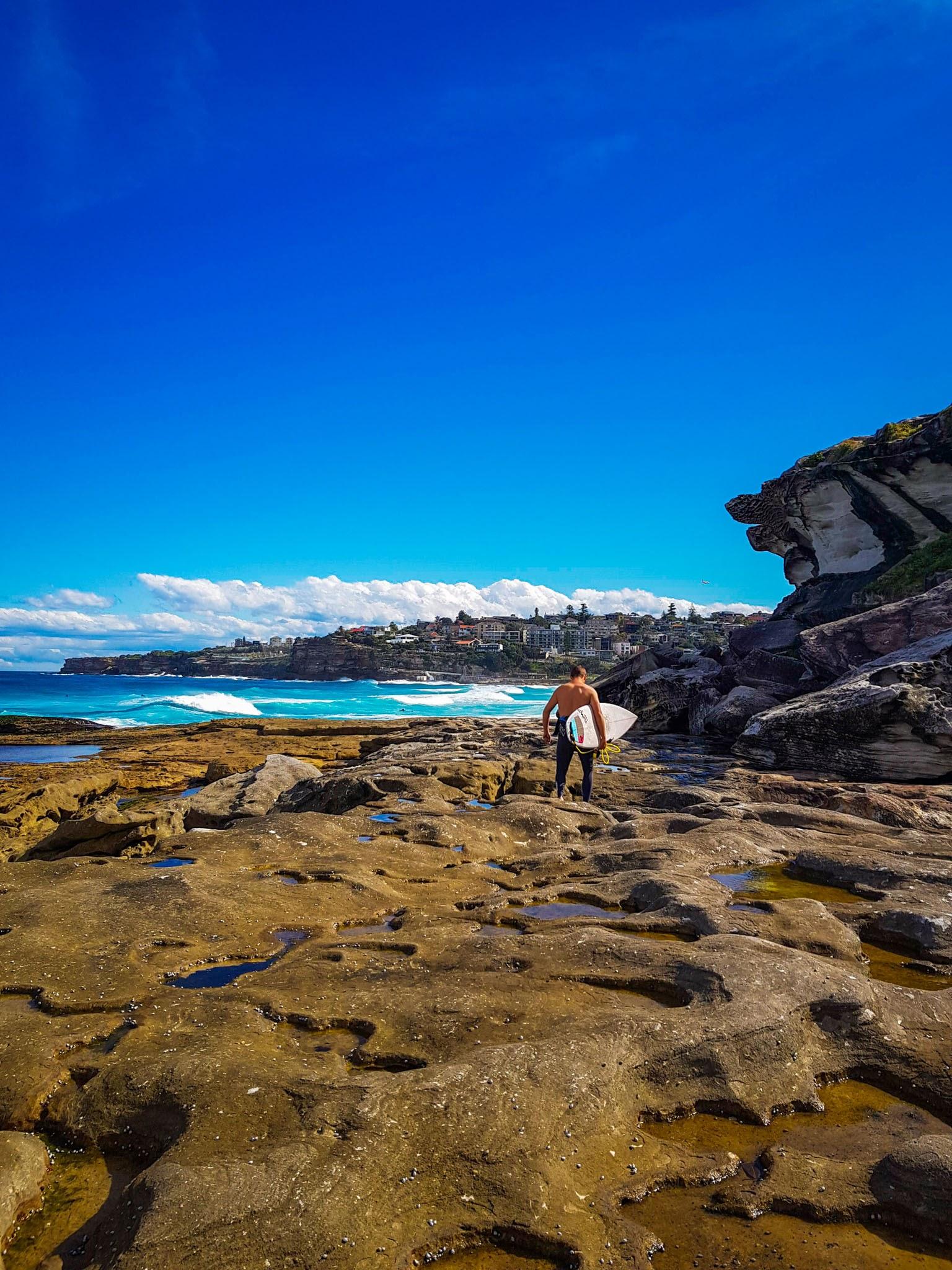 Watching the surfers.  Tamarama Beach, Sydney