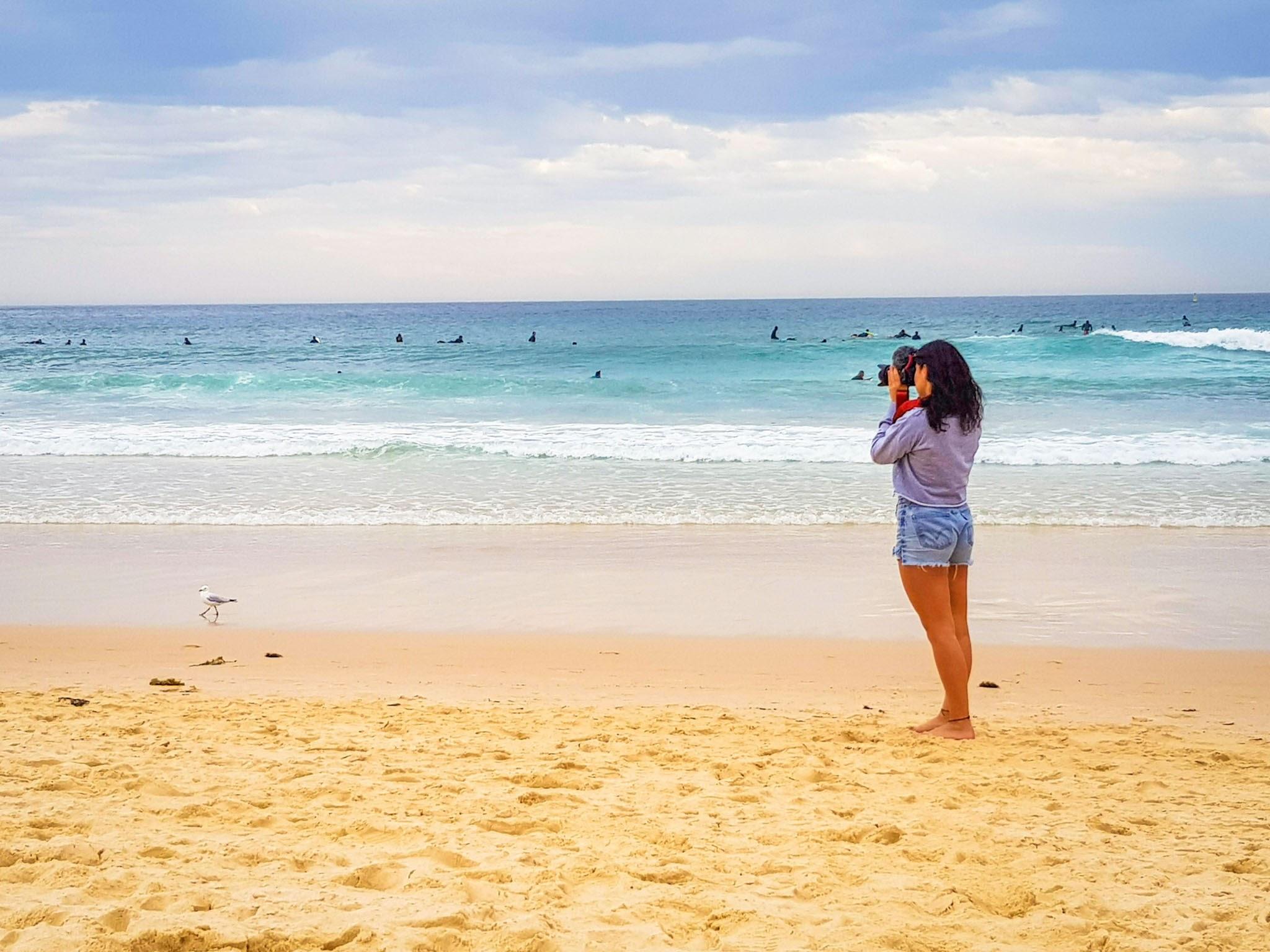 Filming some surfers.  Bondi Beach, Sydney