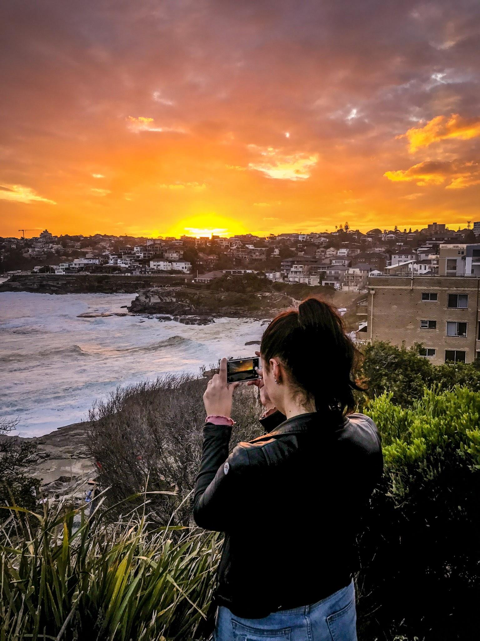 Catching the sunset  Bondi to Coogee Coastal walk  Hunter Park, Sydney