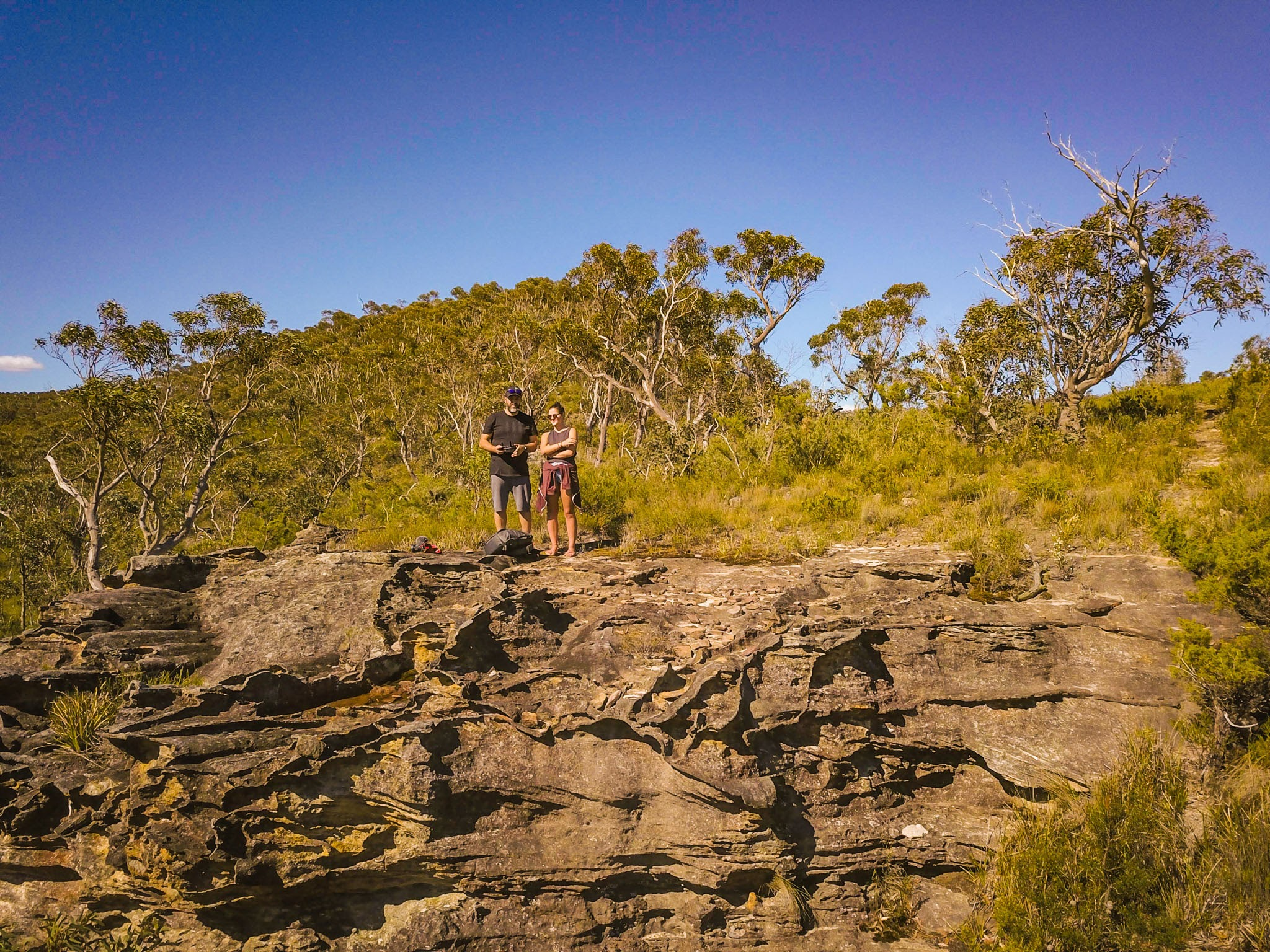 Flying the drone.  Pierces Pass, Blue Mountains National Park