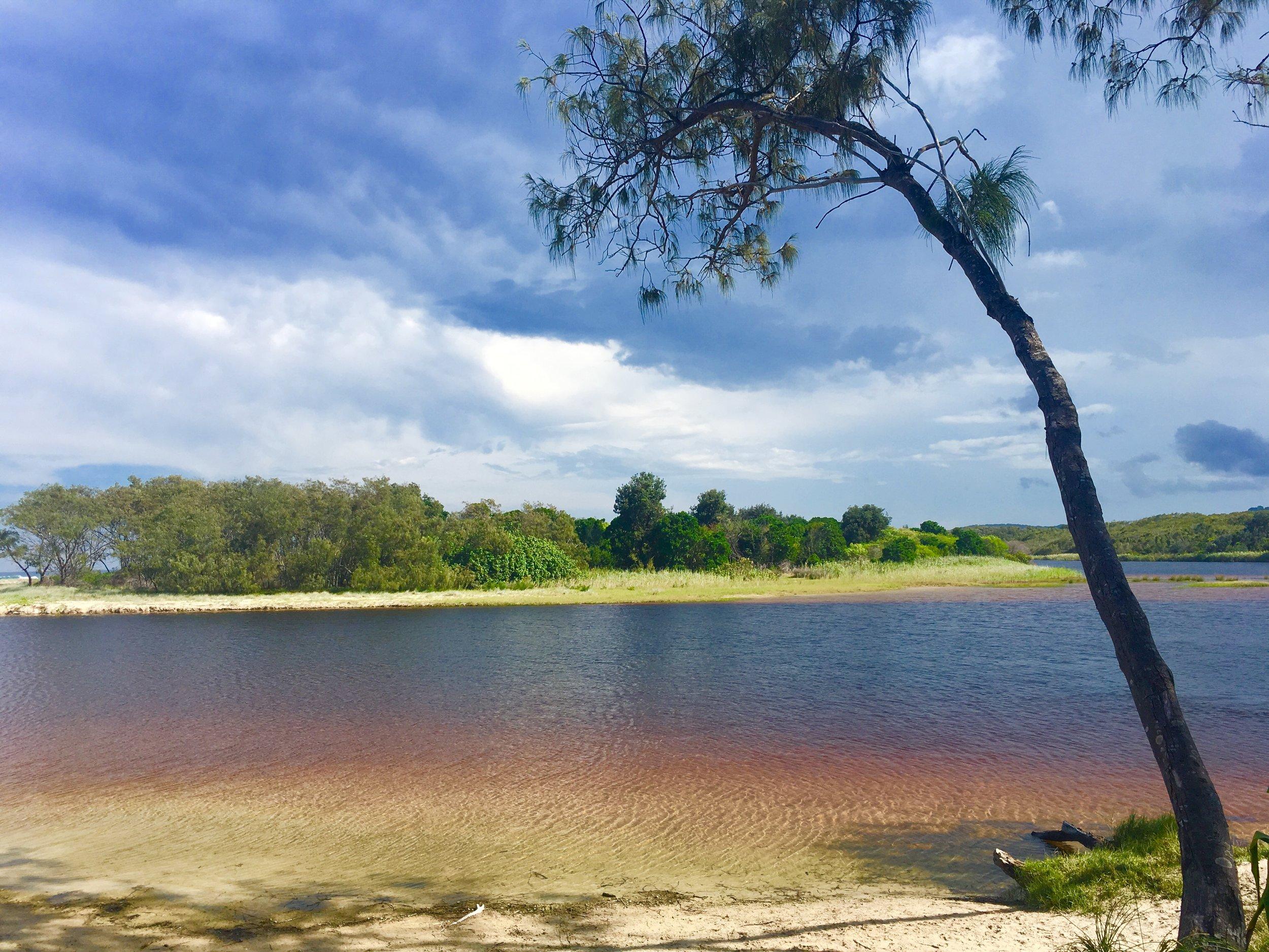 Teatree lake - Tallow Creek  Tallow Beach, Byron Bay