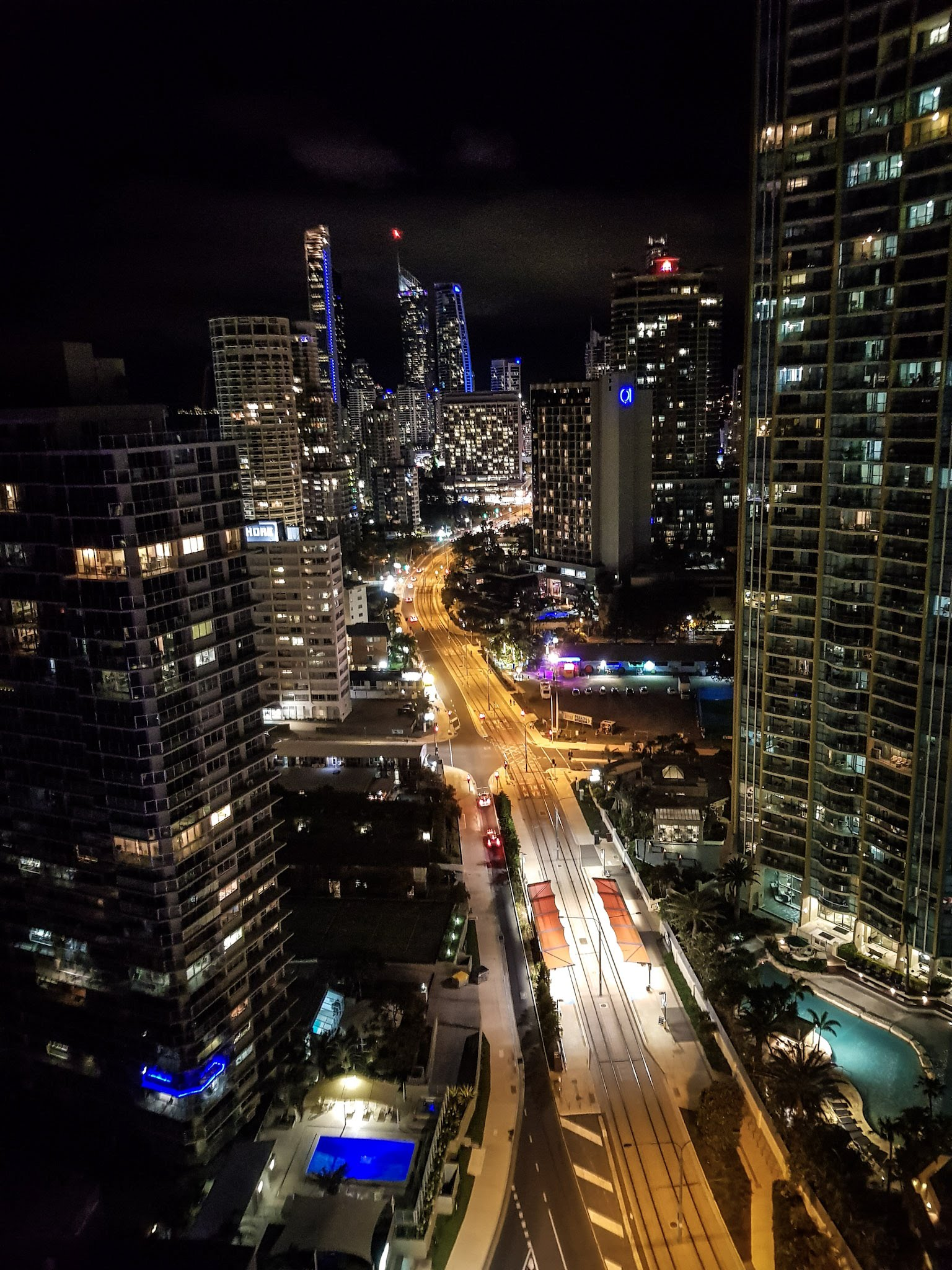 View from our room by night.  Rhapsody Resort, Surfers Paradise
