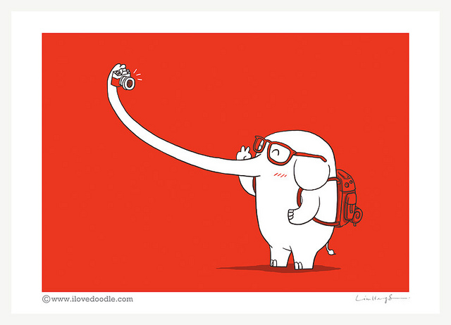ilovedoodle :      Lonely Traveller  on Flickr.    Via Flickr:   Illustrated by Lim Heng Swee   Check out my website:  www.ilovedoodle.com      Finally! I located the artist who is responsible for this wonderful work! It feels like Jerome (character from my MS, an elephant that travels around taking selfies) was out traveling without me even knowing it yet.