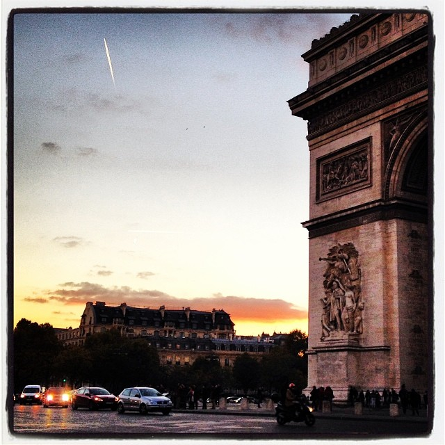 christopherdickey :     Pink Cloud: Sunset at the Etoile in Paris, France, this evening
