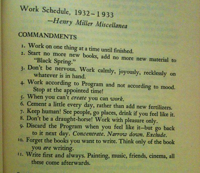 janefriedman :     Henry Miller's Work Schedule, 1932-33
