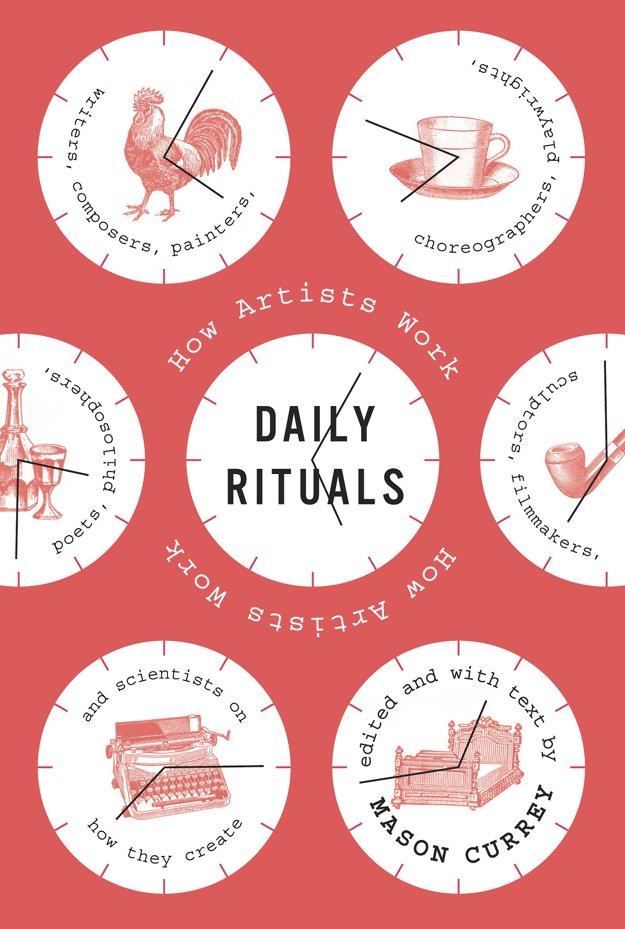 """austinkleon :        Daily Rituals: How Artists Work  by Mason Currey       """"Sooner or later, the great men turn out to be all alike. They never stop working. They never lose a minute. It is very depressing.""""  —V.S. Pritchett   """"A modern stoic knows that the surest way to discipline passion is to discipline time: decide what you want or ought to do during the day, then always do it at exactly the same moment every day, and passion will give you no trouble.""""  —W.H. Auden     An addictive read—just 1-3 page summaries of the routines of various artists, scientists, etc. It's fun to go through and get ideas for your own work, but mostly it's just fascinating to hear about how people work(ed). (cf. Studs Turkel's   Working  .)    Here are a few bits that rang true to my own experience:    A little bit of work every day adds up.    Anthony Trollope: """"three hours a day will produce as much as a man ought to write.""""   Martin Amis: """"Two hours. I think most writers would be very happy with two hours of concentrated work.""""   Gertrude Stein: """"If you write a half hour a day it makes a lot of writing year by year.""""    Read your work aloud.    Simply reading your work aloud gives you enough distance from it that you can hear what's really going on. Mark Twain would read his day's work aloud to his family after dinner. Maya Angelou would read her stuff to her husband, but not invite him to comment. (Quentin Tarantino does the same—he reads scripts to his friends, but doesn't invite feedback. """"I don't want your input, heavens forbid…"""")    Eat a good breakfast.    I'd like to adopt Carl Jung's breakfast: """"coffee, salami, fruits, bread and butter.""""    A little procrastination can go a long way.    Gerhard Richter: """"I love making plans. I could spend my life arranging things. Weeks go by, and I don't paint until I can't stand it any longer…perhaps I create these little crises as a kind of secret strategy to push myself.""""   Joseph Heller: """"Television drove me back to  Catch-22 . I could"""