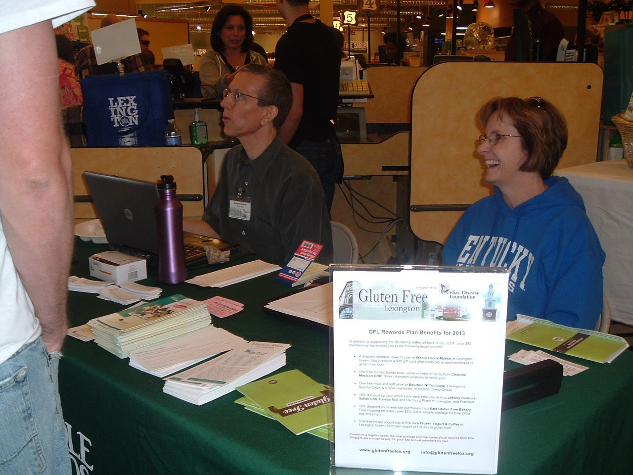 You can ALMOST read the details of GFL's amazing member-only Rewards Plan benefits. To find out why people were lining up to get these benefits, check out the JOIN GFL page of our web site at  www.glutenfreelex.org  . Free restaurant meals, free groceries at Whole Foods, and more!