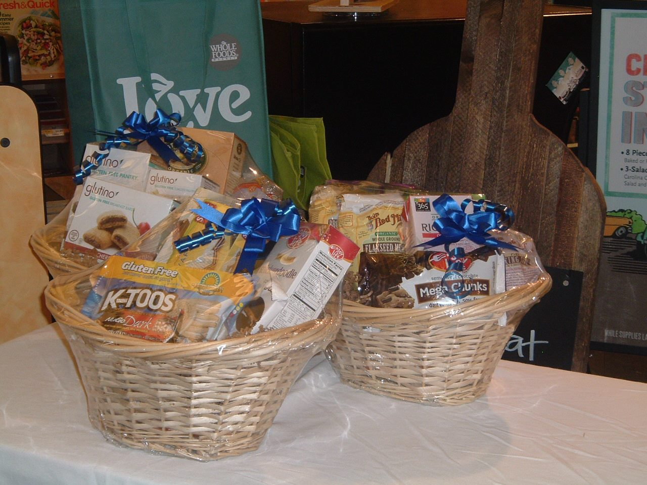 Gift Baskets! Whole Foods Market generously donated these yummy door prizes: gluten free gift baskets valued at $25 apiece. Other door prizes included free dinners from Chipotle Mexican Grill and from Bourbon & Toulouse Cajun & Creole Joint.