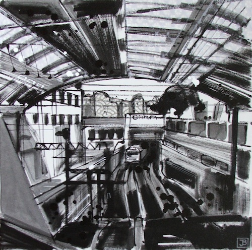 london underground, mixed media on canvas, 16x16 (in), $320
