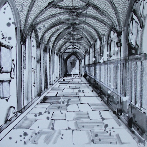 east cloister (wells cathedral), mixed media on canvas, 16x16 (in), $320
