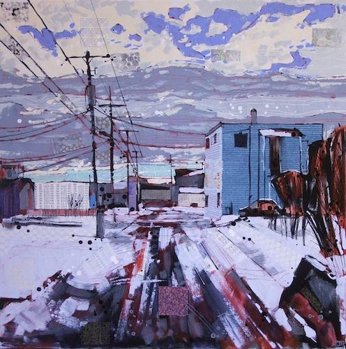 welcome to biggar saskatchewan, mixed media on canvas, 36x36(in), $1620