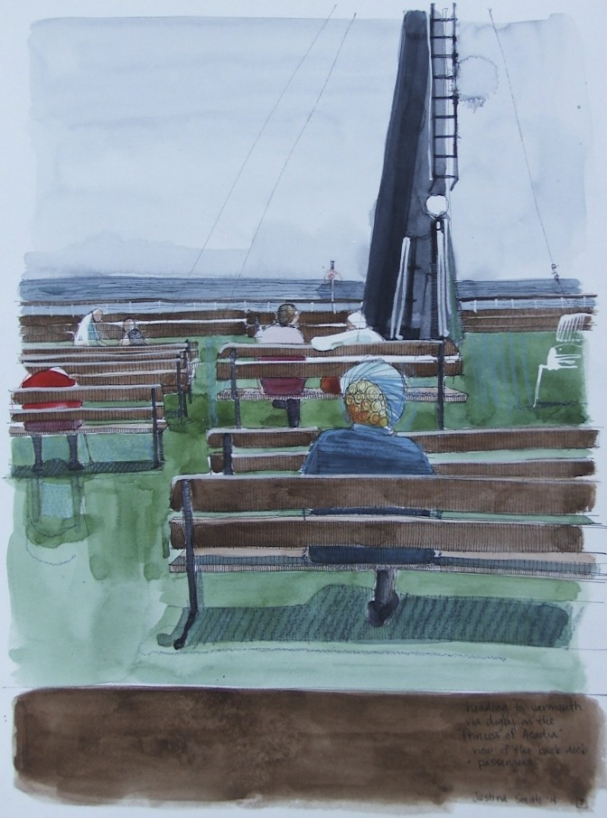 back deck of the Princess of Acadia, with passengers  pen, watercolor & pencil crayon on cold pressed paper  12x16(in)  $240