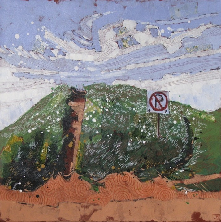"north rustico beach, PEI, mixed media on canvas, 24"" x 24"""