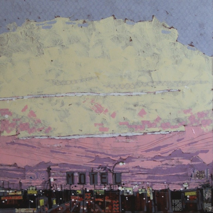 gateway motel sign at sunrise, mixed media on canvas, 30x30 (in)
