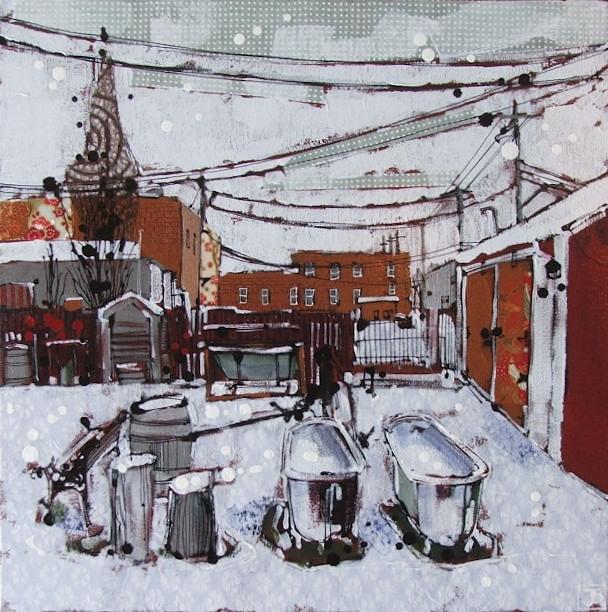 winter bathing, nanton ab, mixed media on canvas, 14x14(in)