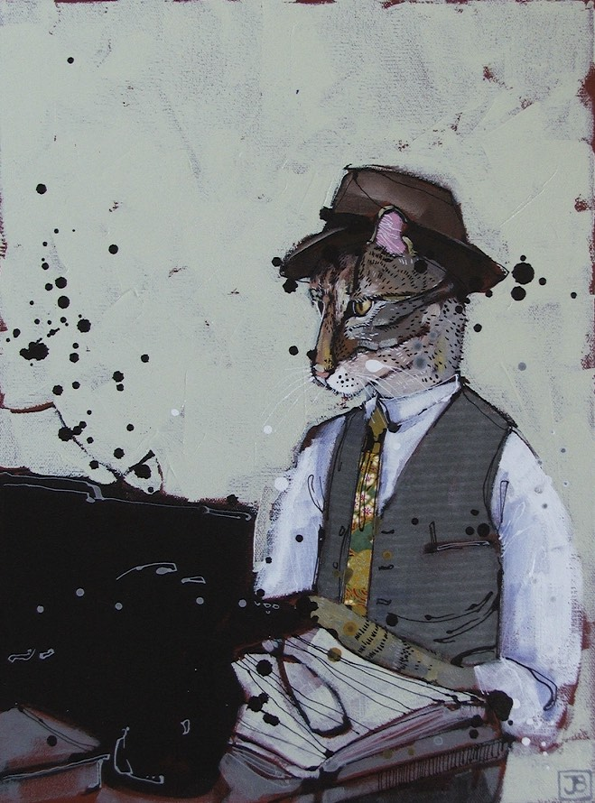 very serious reporter cat, mixed media on canvas, 12x16 (in), commission