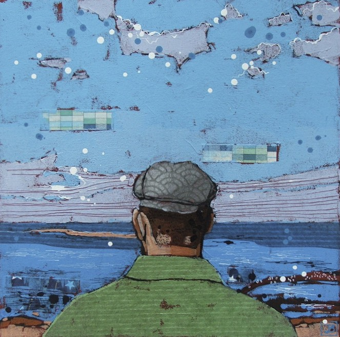 the bearded dude vs. the atlantic, PEI, mixed media on canvas, 14x14 (in)