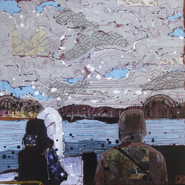 going to ward's island, Toronto, mixed media on canvas, 14x14 (in)