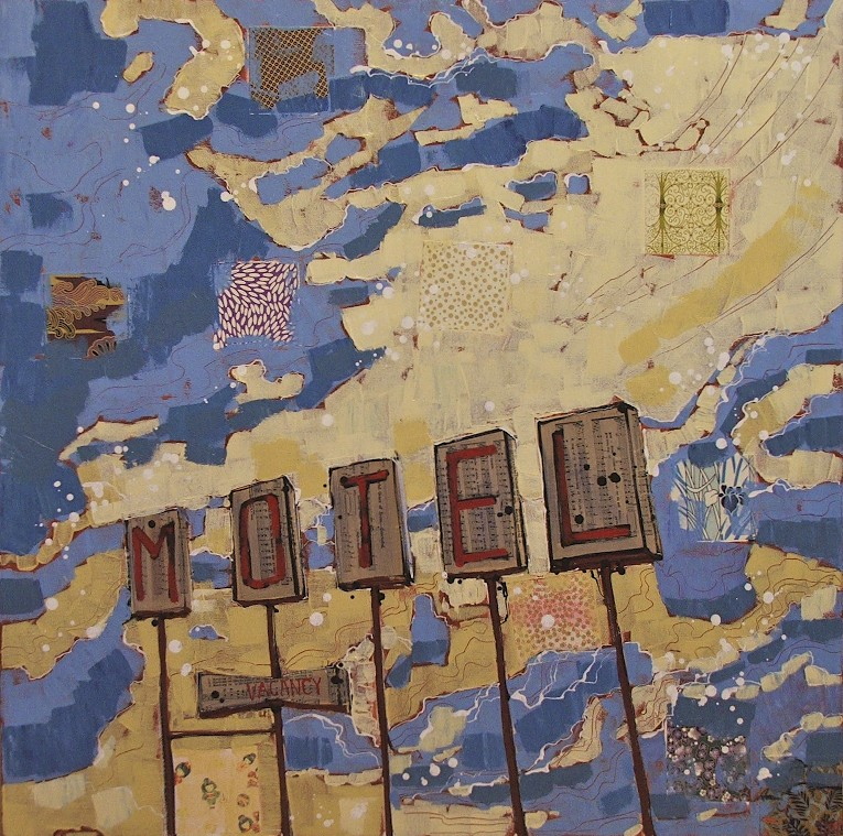 gateway motel II, mixed media on canvas, 30x30, SOLD, 2013