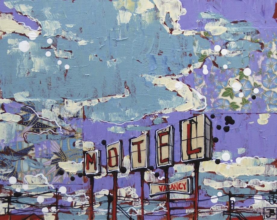 gateway motel I, mixed media on birch panel, 8x10, SOLD, 2013