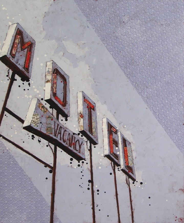 the vacancy, mixed media on canvas, 30x36, $1620, 2015