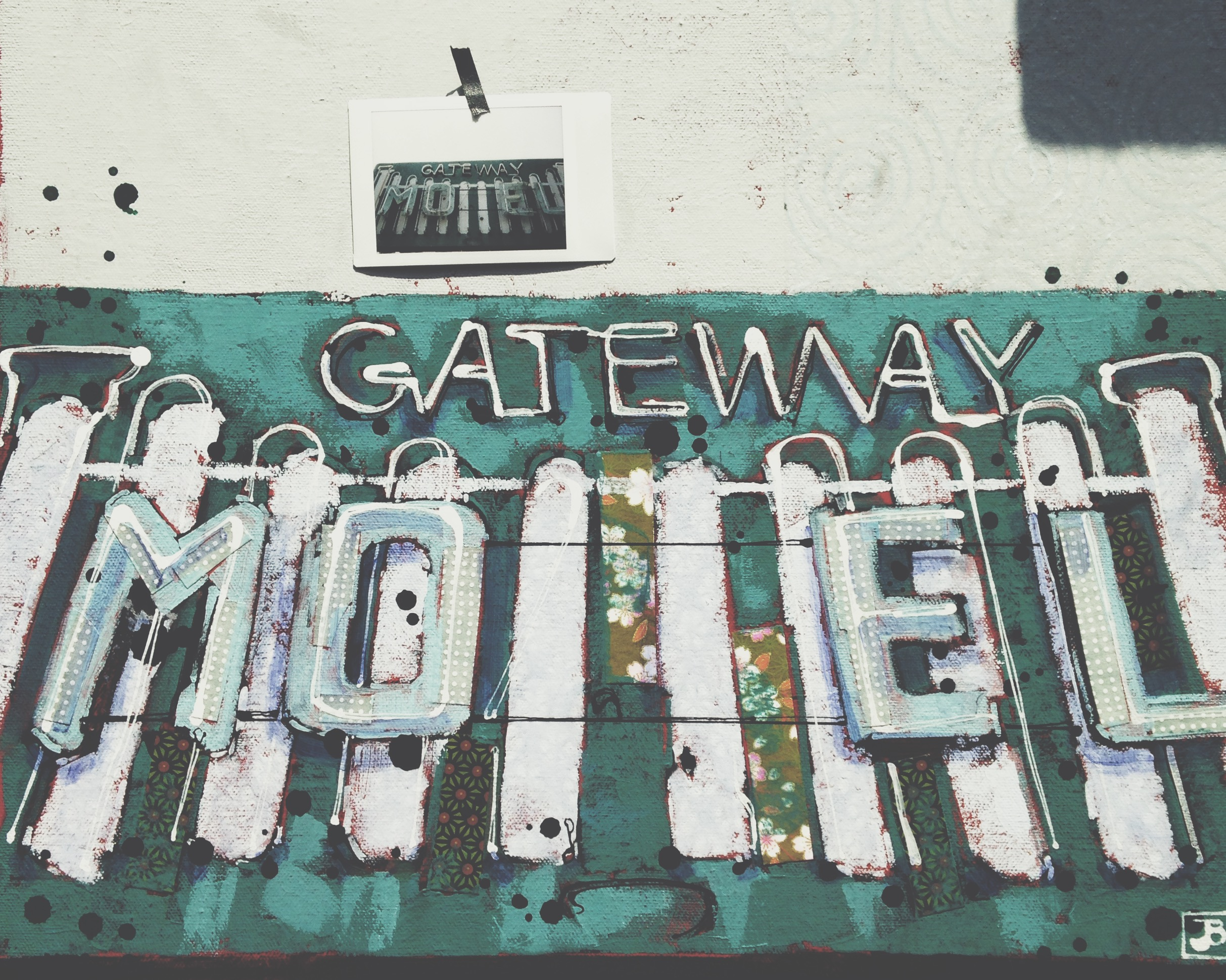 gateway motel #5, mixed media on canvas, 16x16 (in)