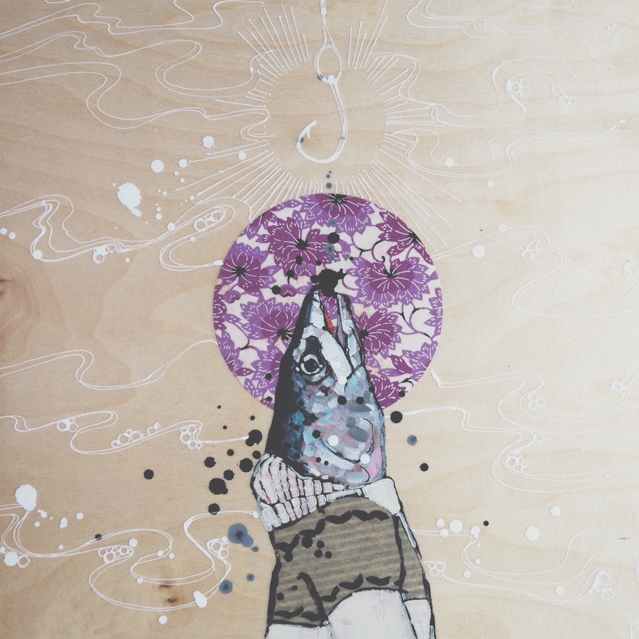 detail of:  holy mackerel!, mixed media on birch panel, 16x16(in)