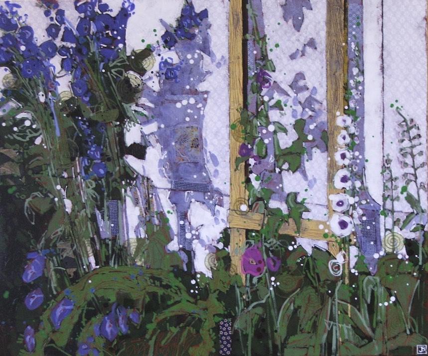 a bit of Amy's garden, mixed media on canvas, 30x36, $1620