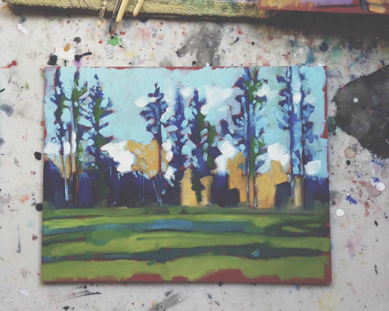 long shadows, tall pines, Whitehorse YT, oil on masonite, 9x12, 2015