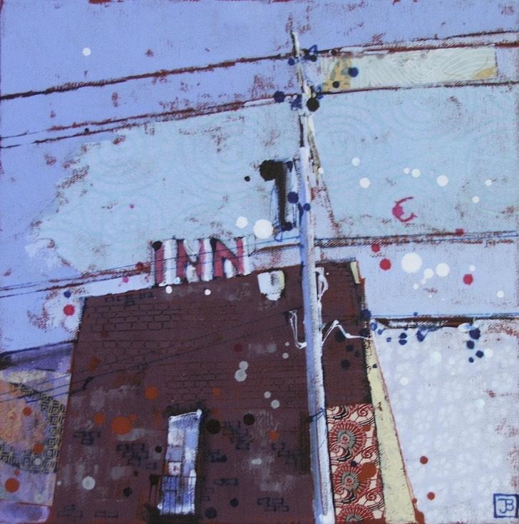 the 'cos' (cosmopolitan hotel, blairmore), mixed media on canvas, 12x12, $220