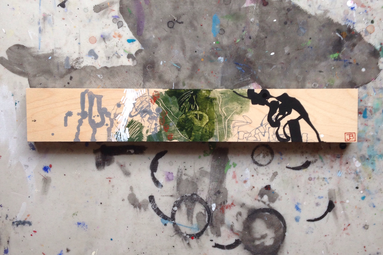 flight patterns, acrylic on birch panel, 3x18 (in), $100, 2015