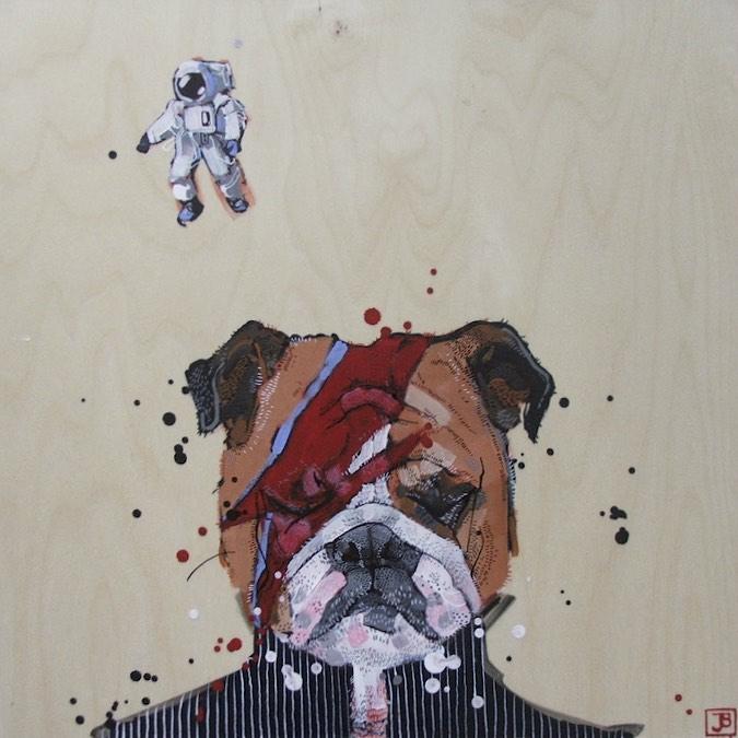 "goodnight, starman, mixed media on birch panel, 16"" x 16"", 2016"